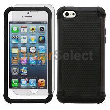 Hybrid Rugged Rubber Matte Hard Case Skin+Screen Guard for Apple iPhone 5C Black