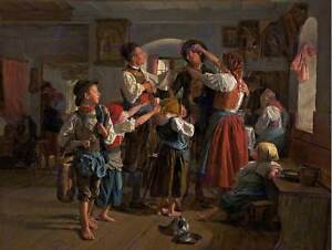 WALDMULLER-THE-CONSCRIPTS-FAREWELL-OLD-ART-PAINTING-PRINT-874OM