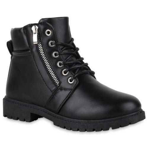Damen Stiefeletten Worker Boots Outdoor Zipper Profilsohle 824166 Schuhe