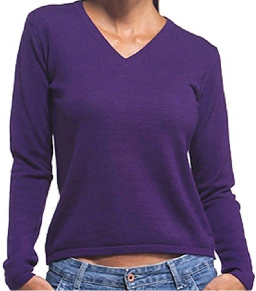 Balldiri 100% Cashmere Damen Pullover 2-fädig V-Ausschnitt violett XS