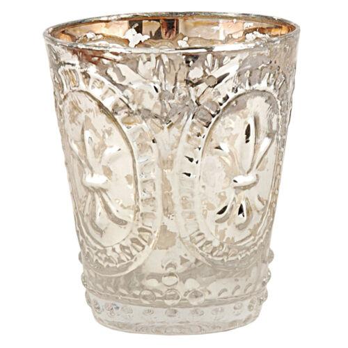 Clayre /& Eef Teelichthalter Bauernsilber Glas 6GL0049 Kerzenständer Teelicht