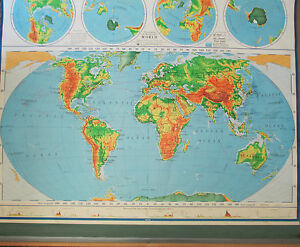 Vintage School Pull Down World Map A J Nystrom Co No Pr 98 63