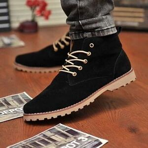 56651b1aba0 British Men s Casual Suede Lace Ankle Boots High Top Loafers ...