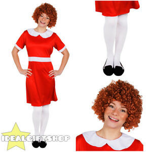 LADIES LITTLE ORPHAN FANCY DRESS COSTUME DRESS WIG STOCKINGS MUSICAL TV SHOW