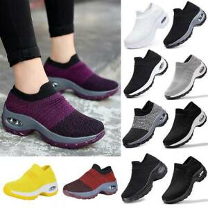 Air Cushion Womens Sneakers Breathable Mesh Walking Slip-On Running Casual Shoes