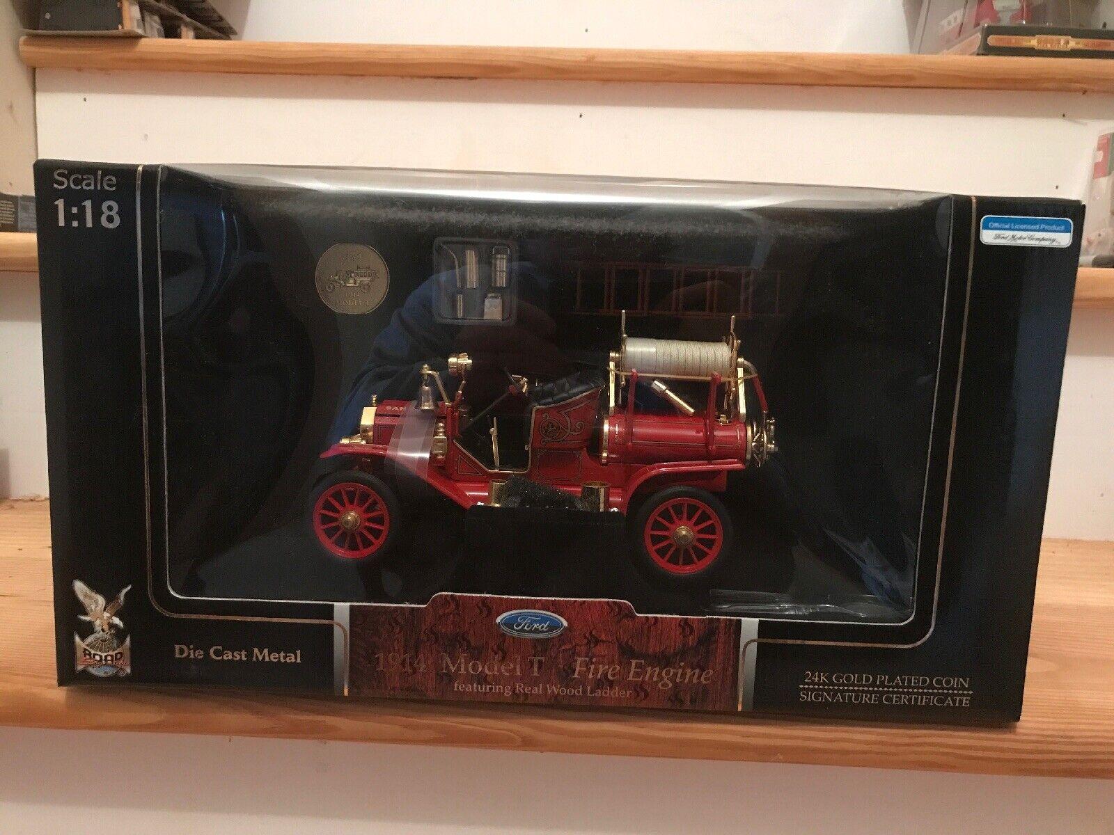 fabbrica diretta 1914 Ford modello T Fire Engine rosso 1 18 Diecast Diecast Diecast modello auto strada Signature Yatming  consegna veloce