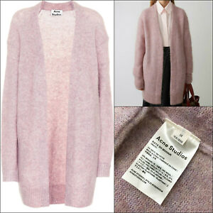 fa3b60bc1251 $410 Acne Studios Women Raya Pink Wool Mohair Oversize Long Cardigan ...