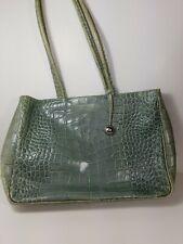 ae167e8e5fa9 FURLA Croc Embossed Leather Sage Green Shoulder Tote Bag Handbag Purse