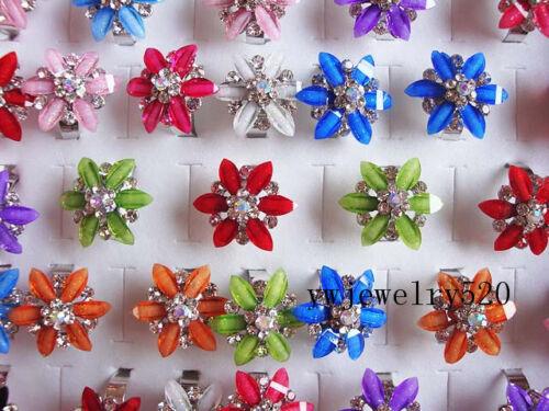 Gros vrac Bijoux 10pcs Résine Fleur de Cristal Argent P Anneaux Jewelry Free