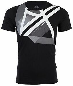 ARMANI EXCHANGE Mens T-Shirt RIGHT SIDE UP Slim BLACK Designer $45 ...