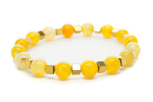 Yellow-Agate-Natural-Beaded-Bracelet-Chakra-Healing-Men-Women-DT422