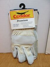 12 Leather Gloves Safety Cuff Double Palm Pearl Grey Blue Lining Size S New