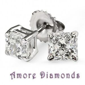 35f5a184555 1.80 ct EGL USA H   I VS natural princess cit diamond studs earrings ...