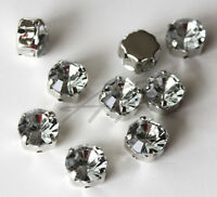20pc 8mm Faceted Round Circle Sew On Clear Rhinestones Montee W/metal Prong