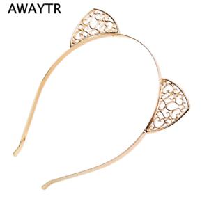 Cat Ear Headband Metal Gold Hairband Kitten Crystal Ears Girls Rhinestone