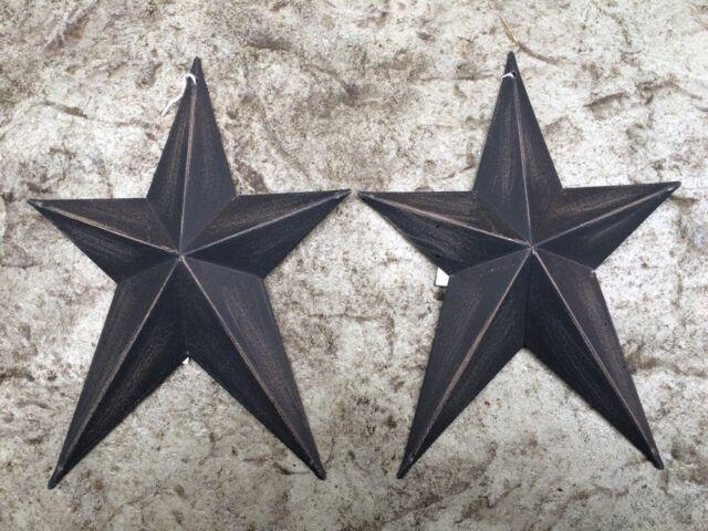 "Set of 2 WHIMSICAL BURGUNDY BLACK BARN STARS 8/"" PRIMITIVE RUSTIC COUNTRY DECOR"
