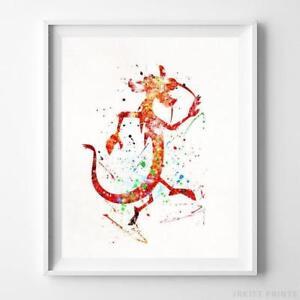 Image Is Loading Mushu Mulan Wall Art Disney Watercolor Poster Nursery