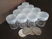 (10) Round Clear Plastic (half Dollar) Size Coin Storage Tube Holders Screw Lid
