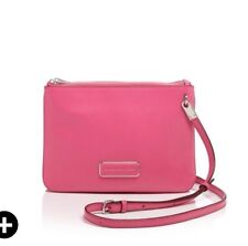 NWT MARC BY MARC JACOBS Ligero Double Percy Crossbody Bag Fuchsia Pink Silver