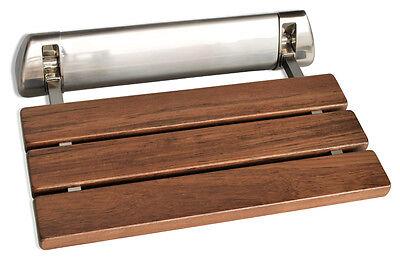 K Teak Wood Wall Mounted Folding Shower Seat by SteamSpa - Brushed Nickel