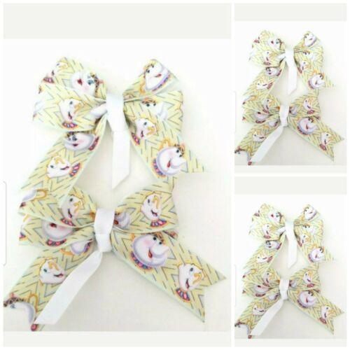 Handmade Filles Mme Potts Hair Bow Clips vendu en paires sur Croc Clips