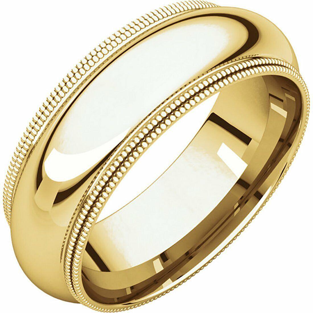 Fine 10k Yellow gold 7 mm Comfort Fit Double Milgrain Wedding Ring 3-16