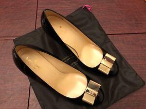 aee6f0035e70 Kate Spade Pump Shoe Karolina Bow Black Patent Size 10.5 Brand New ...
