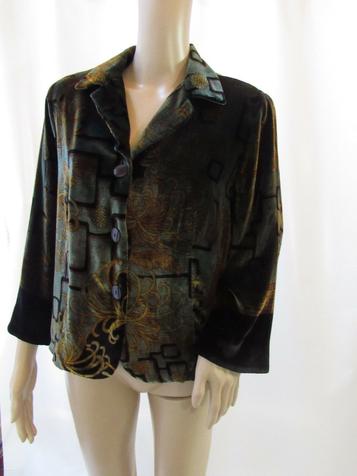 HARARI Silk Blend Abstract Pattern Dark Grün Blazer Jacket Größe M
