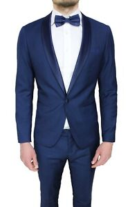 ABITO-UOMO-DIAMOND-RASO-BLU-SCURO-COMPLETO-SLIM-FIT-SMOKING-ELEGANTE-CERIMONIA