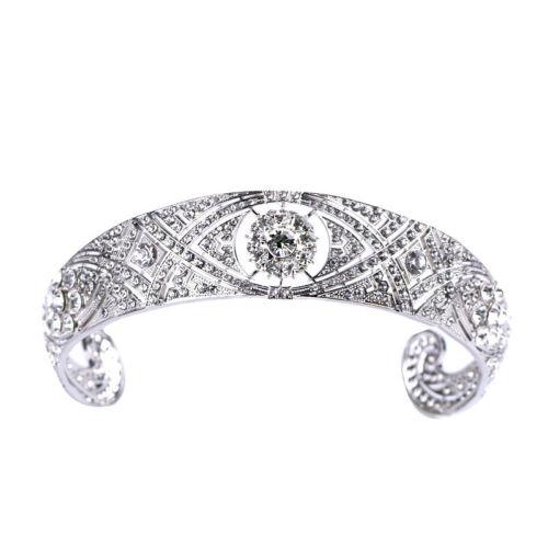 Clear Crystal Meghan Wedding Crown Queen Mary Bandeau Silver Tiara Crown