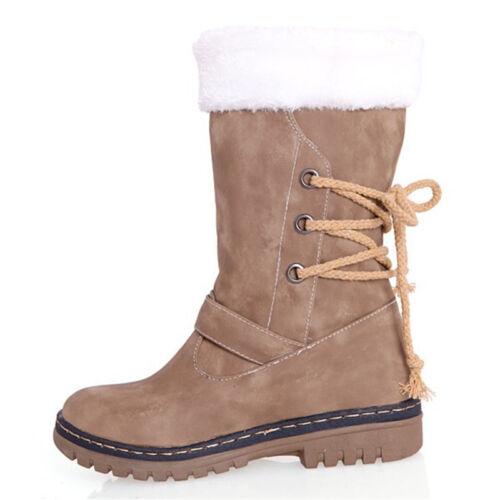 Damen Winterschuhe Pelz Schneestiefel Stiefeletten Knöchel Freizeit Stiefel Mode