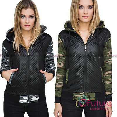 Ladies Bomber Military Quilted Camouflage Zipper Long Sleeve Jacket Coat FZ92