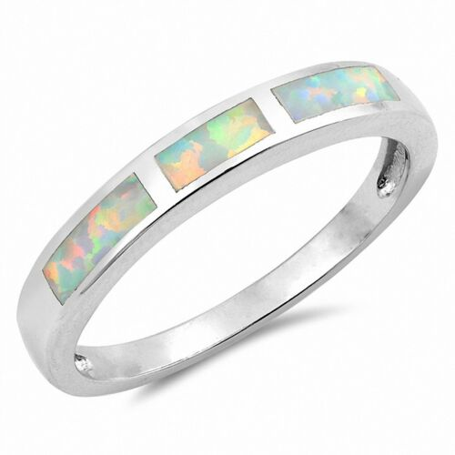 3mm Half Eternity Band Ring Created Opal 925 Sterling Silver Choose Color