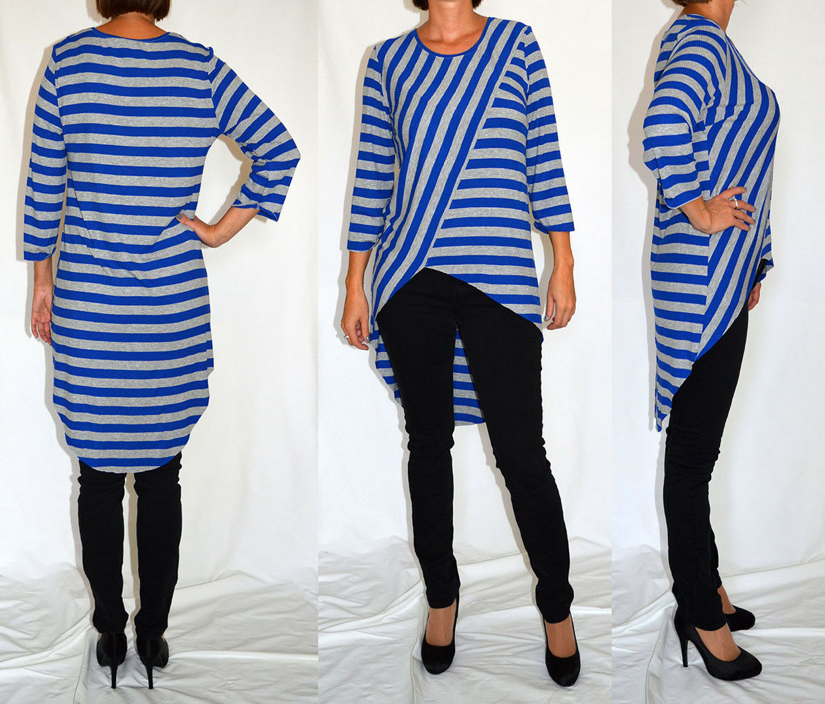 Grey, bluee, striped, jersey, tunic, top, comfortable top Size 14 16