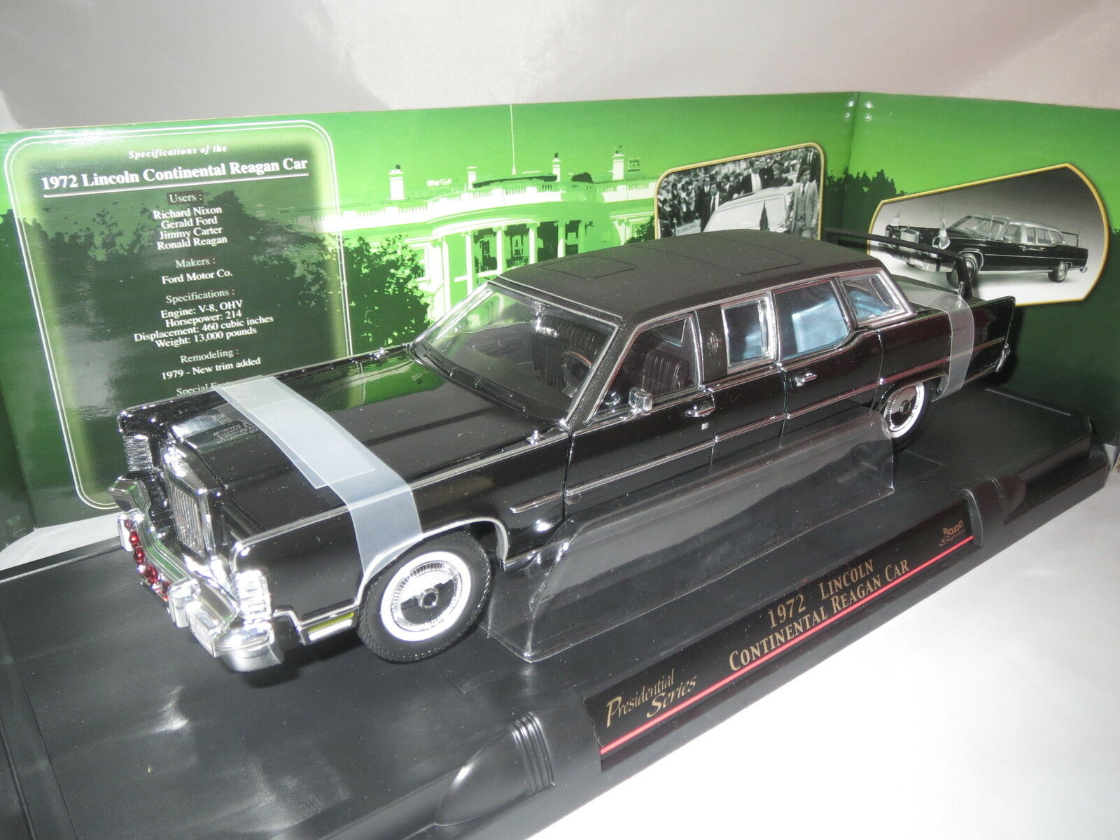 Road signature  1972  Lincoln Continental reagan car (Noir) 1 24 OVP