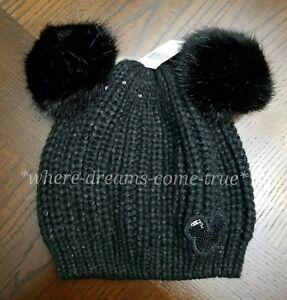 9c4ab0c48c5 Authentic Disney Parks Pom Pom Mickey Ears Black Beanie w  Sequins ...