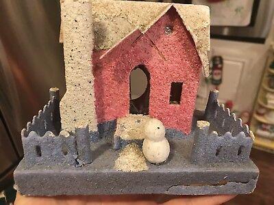 Vintage Christmas Cardboard House Pink With Snowman Figure In Yard Putz  Japan | eBay