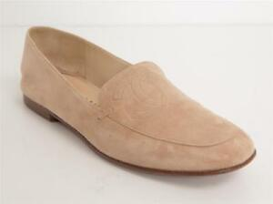 CHANEL Womens Tan Suede CC LOGO Loafers