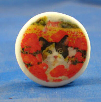 "1""  PORCELAIN CHINA  BUTTON -- TORTOISESHELL CAT AND POPPIES"