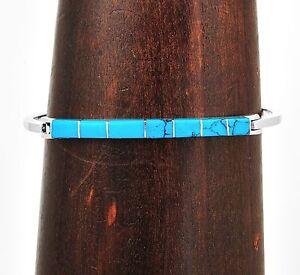 Handmade-Silver-Turquoise-Line-Bracelet-Taxco-Mexico