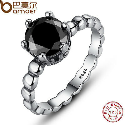 New Authentic S925 Sterling Silver Ring With Black Zircon Roman Jewelry Size 7-8
