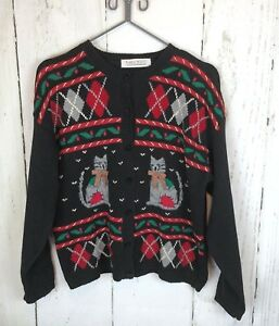 da Kitty donna Cat Vintage Karen abbellito Maglione Christmas Scott's Rw5qgxRF0