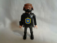 Vintage 1997 Playmobil Male Man Police Figure w/ Black Outfit & Gas Mask