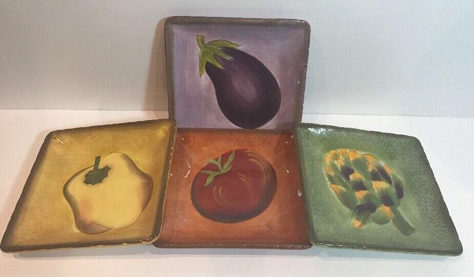 Clay Art Terra Toscana Set Set Set of 4 Salad Plates 8 1 2  Sq. b8475c