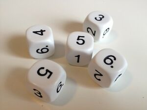 5-pack-of-16mm-6-Sided-Number-Dice-Roleplay-Games-Numeracy-Maths-Resource-D086