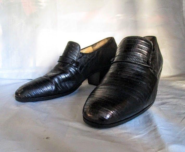 Vintage 70's MAURI  Black Lizard Leather Loafers