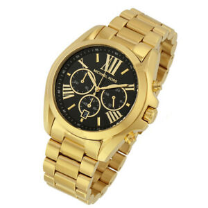 ddccb8e19 100% New Michael Kors Women's Bradshaw Gold Black Chronograph Watch ...