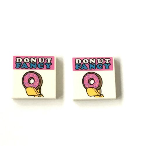 2 Lego Fliese 2x2 Fancy Donut bedruckt weiss NEU 3068b