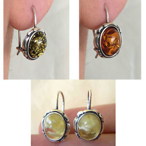 BALTIC-MULTICOLOR-HONEY-or-GREEN-AMBER-amp-STERLING-SILVER-EURO-HOOK-EARRINGS