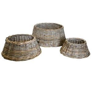 Grey-Whitewash-Rattan-Wicker-Christmas-Tree-Skirt-Base-Cover-Basket-in-4-Sizes